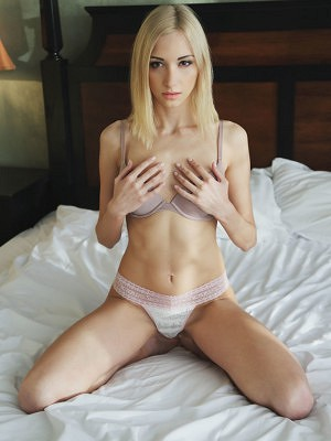 """""""Elegantly alluring Anna Lea sensually strips off her delicate lingerie on top of the bed before showcasing her scrumptious, shaven pussy, and ti"""